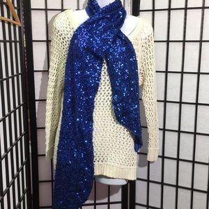 INC Blue Sequin Scarf NWOT